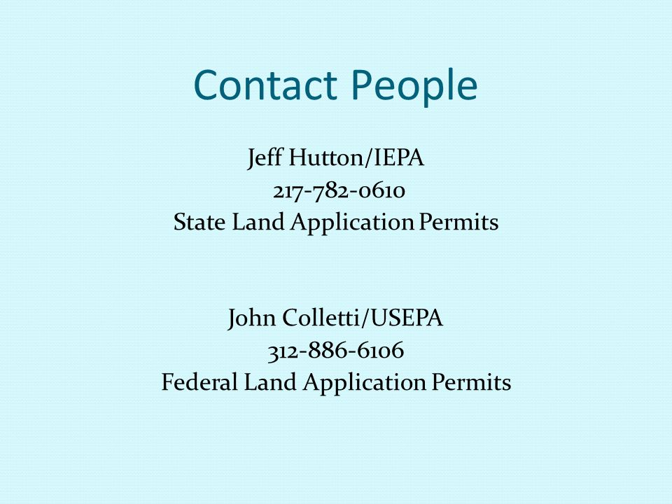 Contact People Jeff Hutton/IEPA 217-782-0610