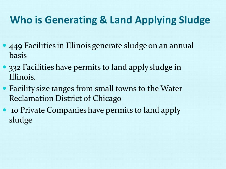 Who is Generating & Land Applying Sludge