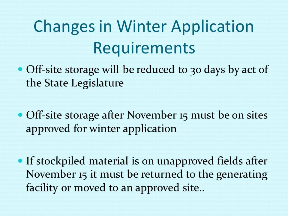 Changes in Winter Application Requirements