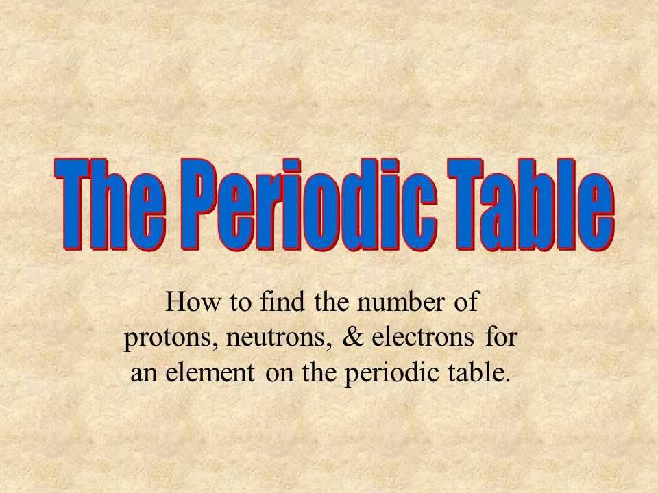 The Periodic Table How to find the number of protons, neutrons, & electrons for an element on the periodic table.