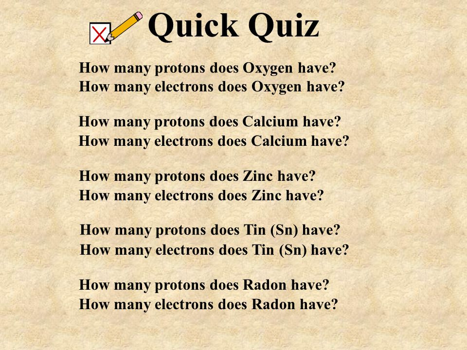 Quick Quiz How many protons does Oxygen have
