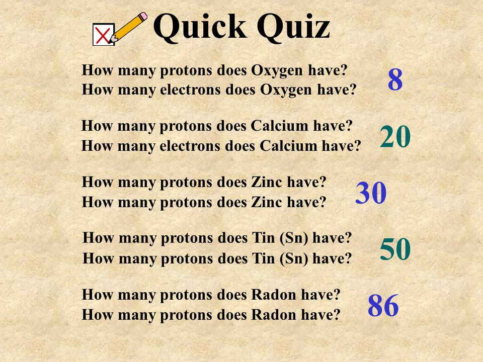 Quick Quiz 8 20 30 50 86 How many protons does Oxygen have