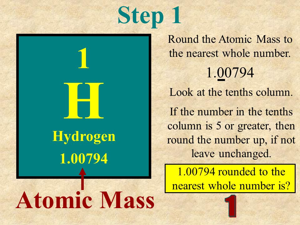 H 1 Step 1 Atomic Mass 1.00794 Hydrogen 1.00794 1