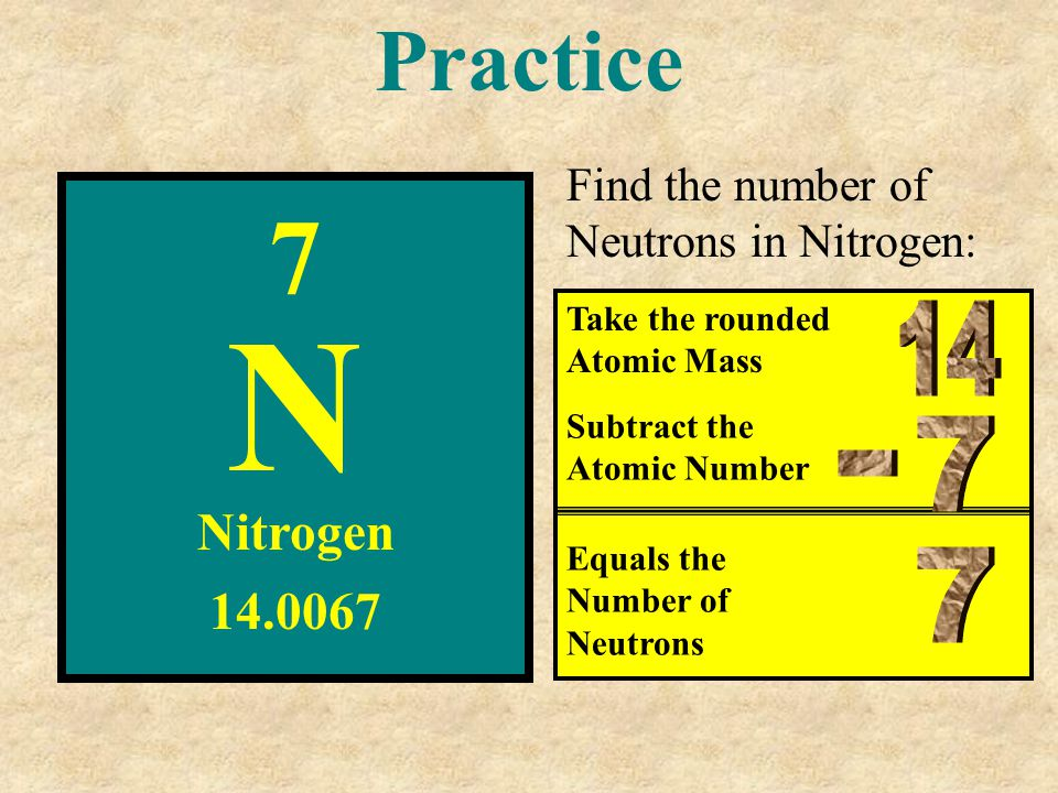 Practice Find the number of Neutrons in Nitrogen: 7. N. Take the rounded Atomic Mass. 14. Subtract the Atomic Number.