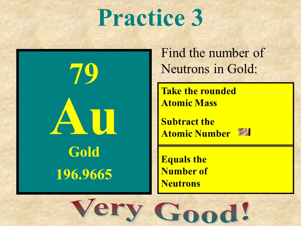 Au 79 Practice 3 - Very Good! Gold 196.9665