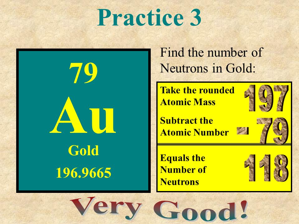 Au 79 Practice 3 197 79 - 118 Very Good! Gold 196.9665