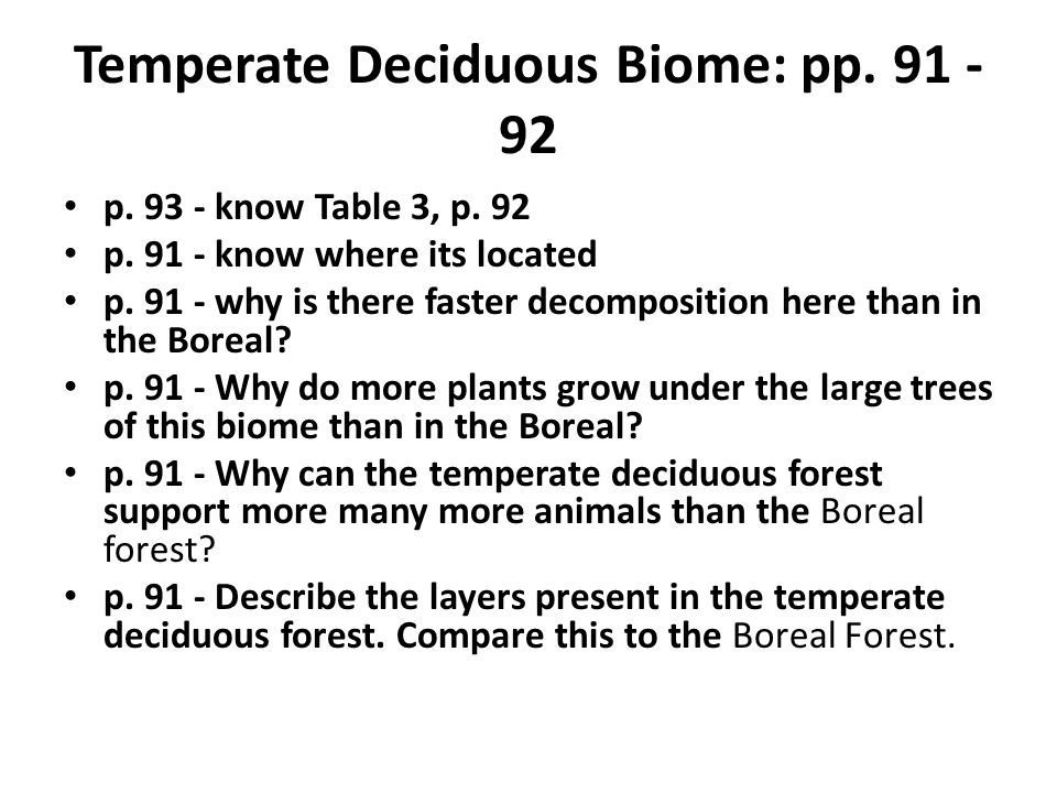 Temperate Deciduous Biome: pp. 91 - 92