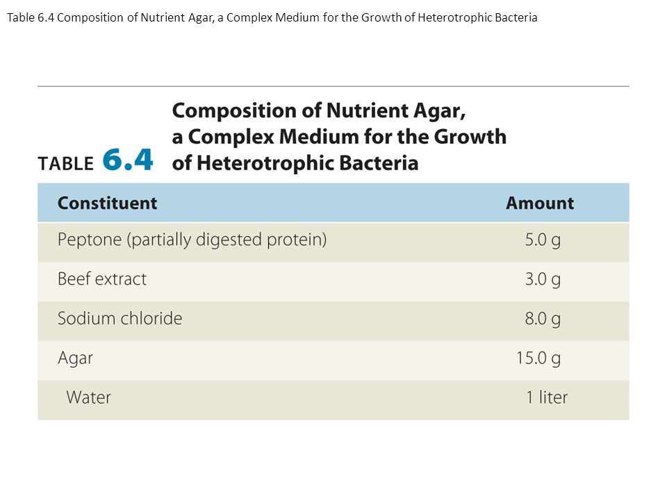 Table 6.4 Composition of Nutrient Agar, a Complex Medium for the Growth of Heterotrophic Bacteria