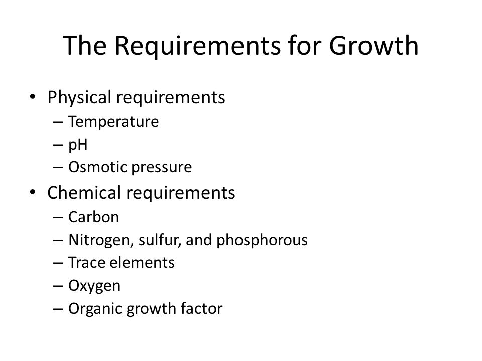 The Requirements for Growth
