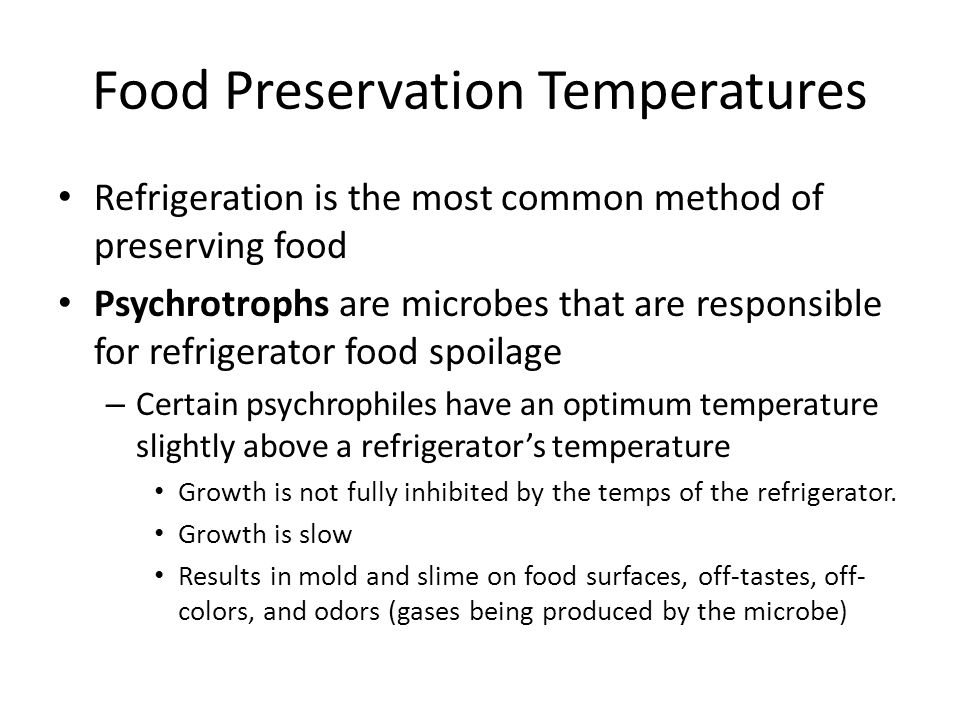 Food Preservation Temperatures