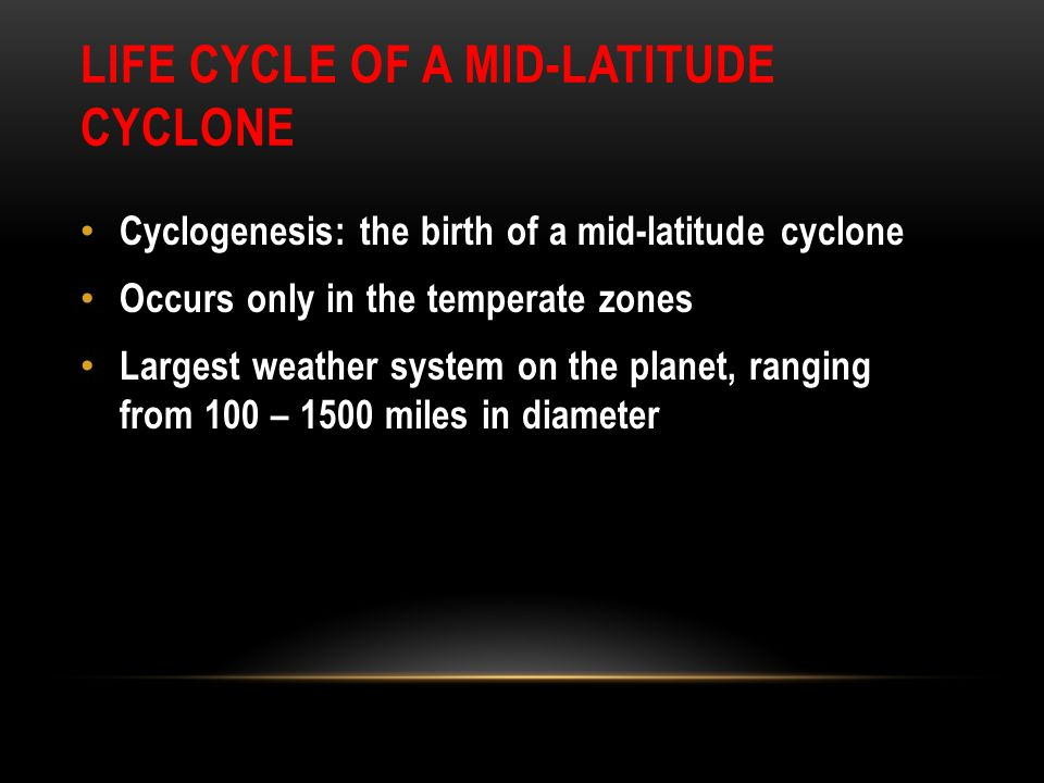 Life Cycle of a Mid-latitude Cyclone