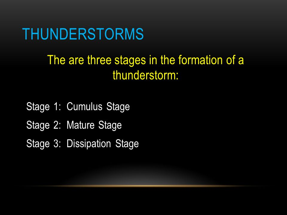 The are three stages in the formation of a thunderstorm: