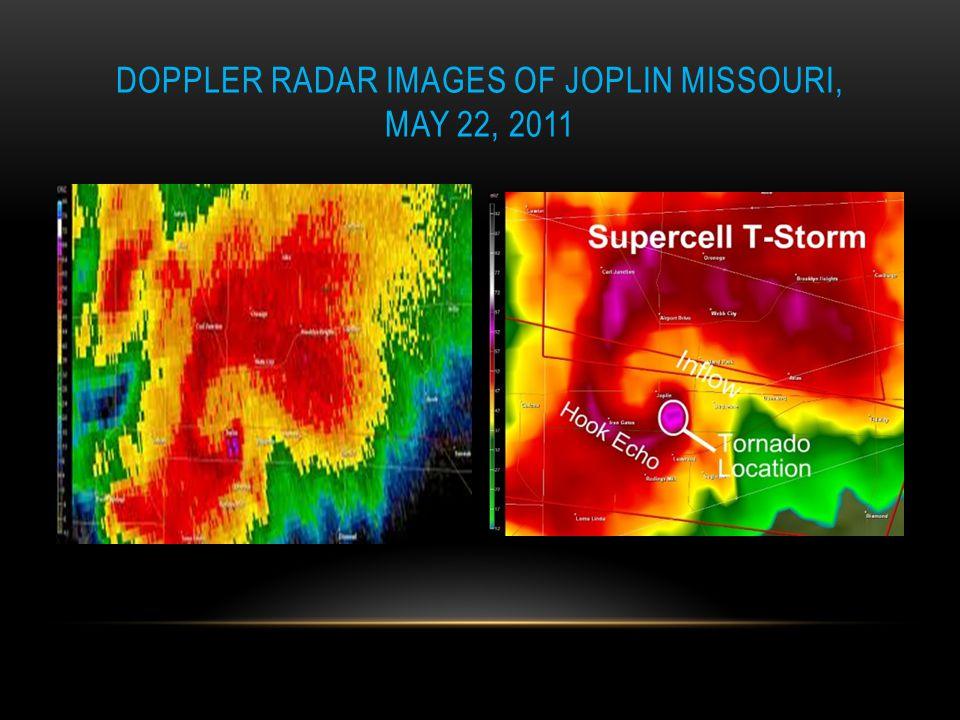 Doppler radar images of Joplin Missouri, May 22, 2011