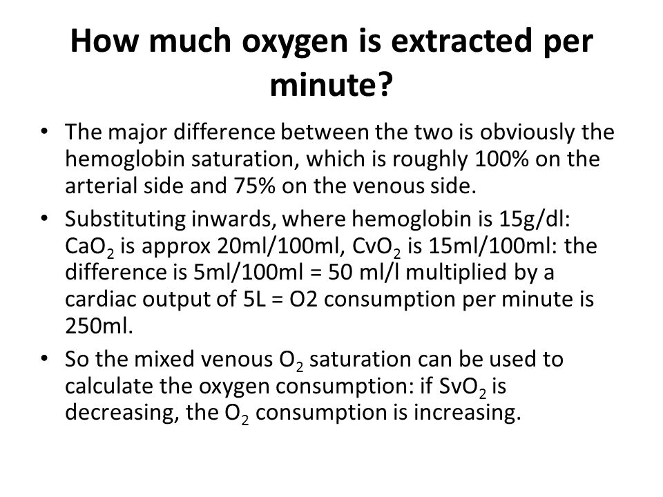 How much oxygen is extracted per minute