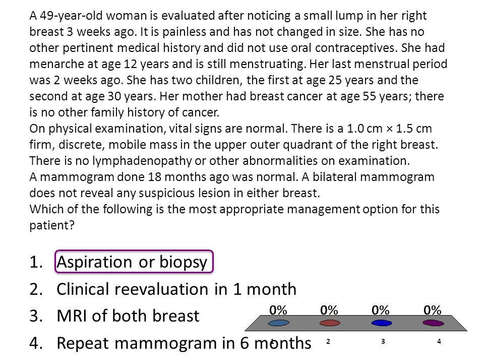 Clinical reevaluation in 1 month MRI of both breast