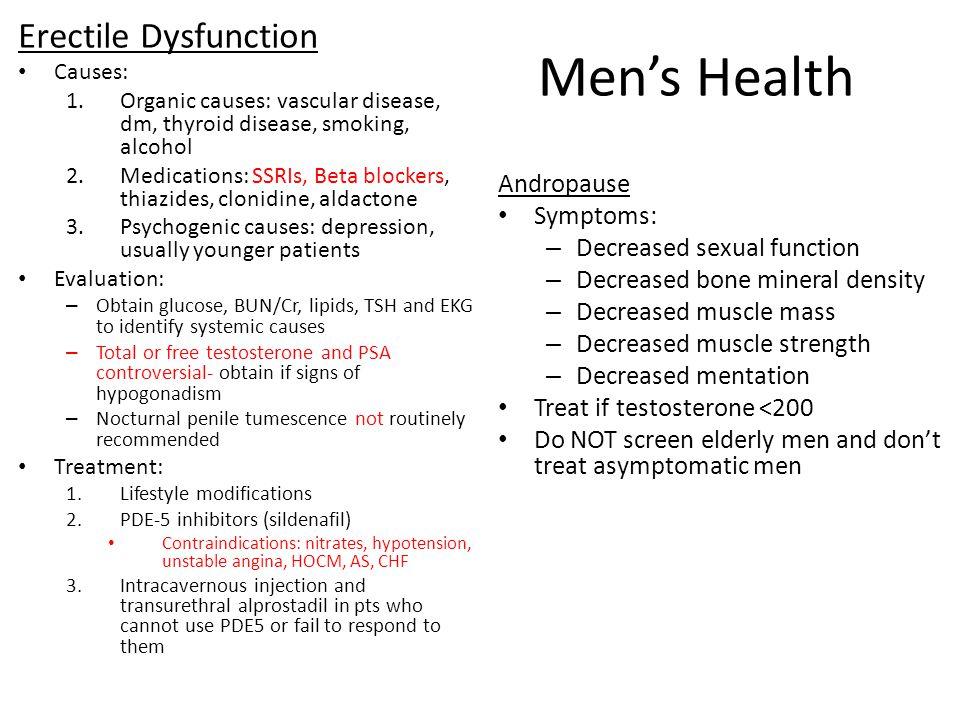 Men's Health Erectile Dysfunction Andropause Symptoms: