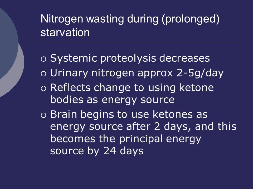 Nitrogen wasting during (prolonged) starvation