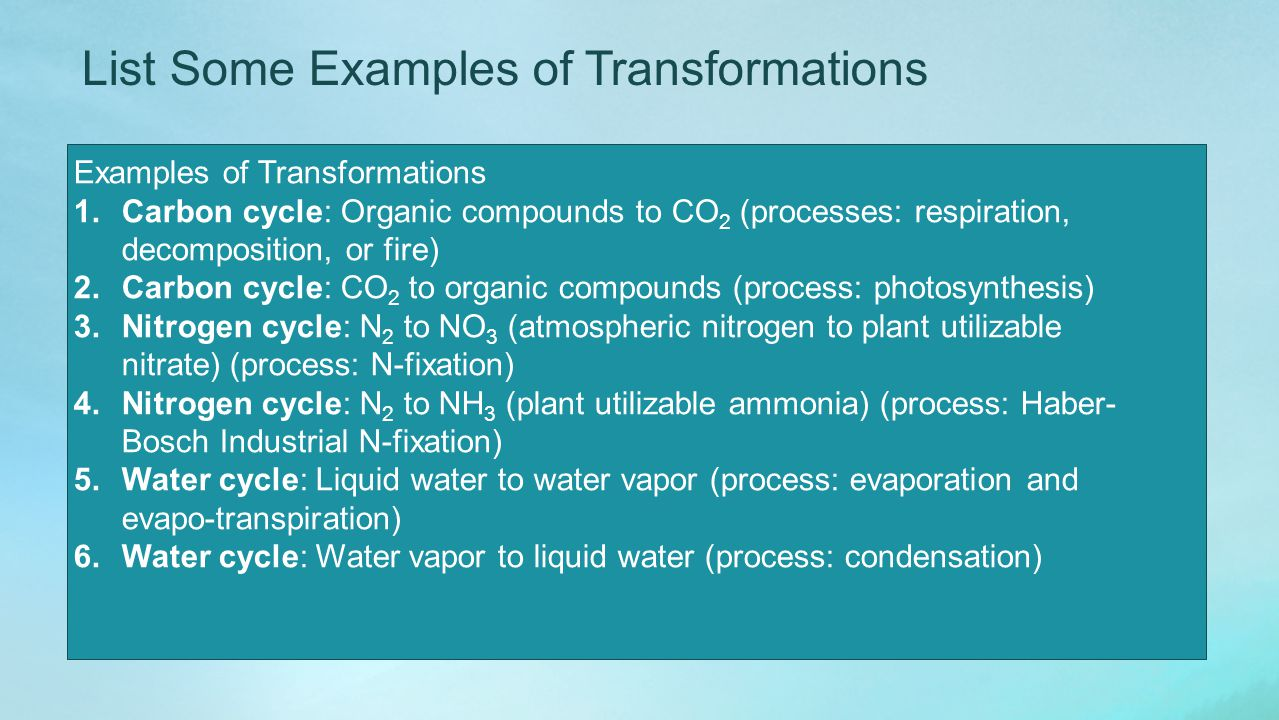 List Some Examples of Transformations