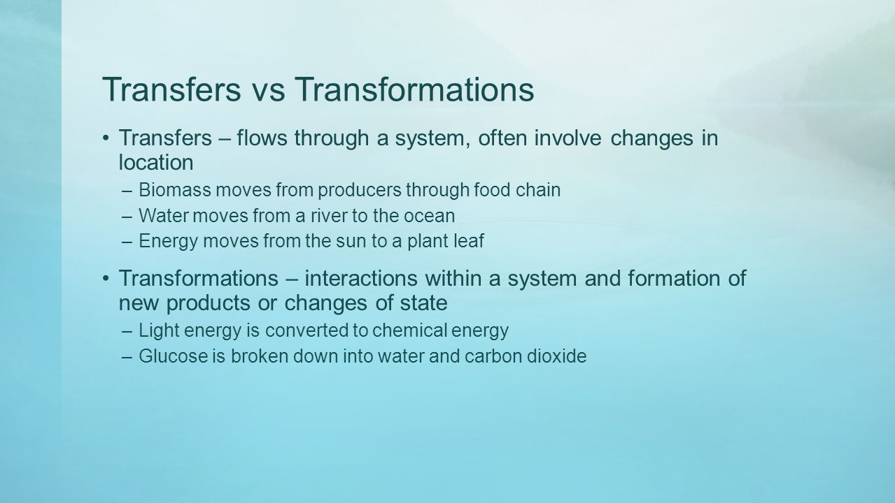 Transfers vs Transformations