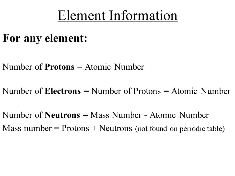 Element Information For any element: Number of Protons = Atomic Number