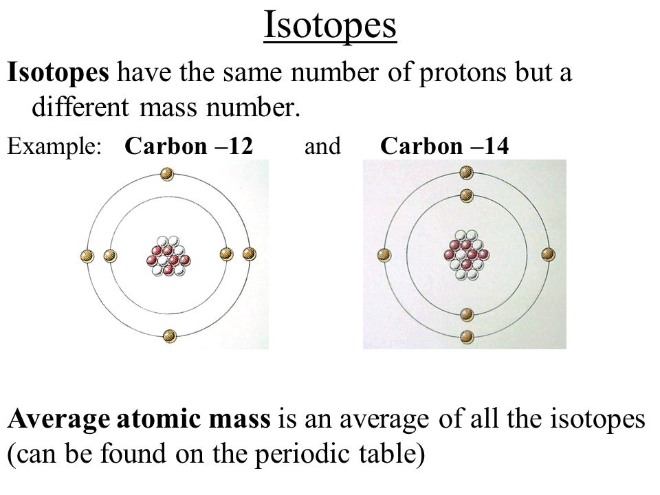Isotopes Isotopes have the same number of protons but a different mass number. Example: Carbon –12 and Carbon –14.