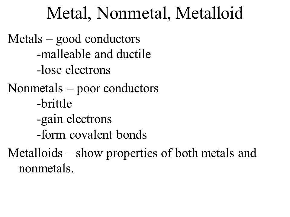 Metal, Nonmetal, Metalloid