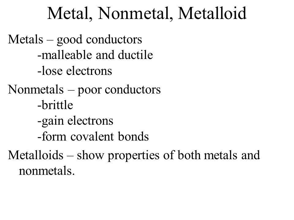 Metal, Nonmetal, Metalloid