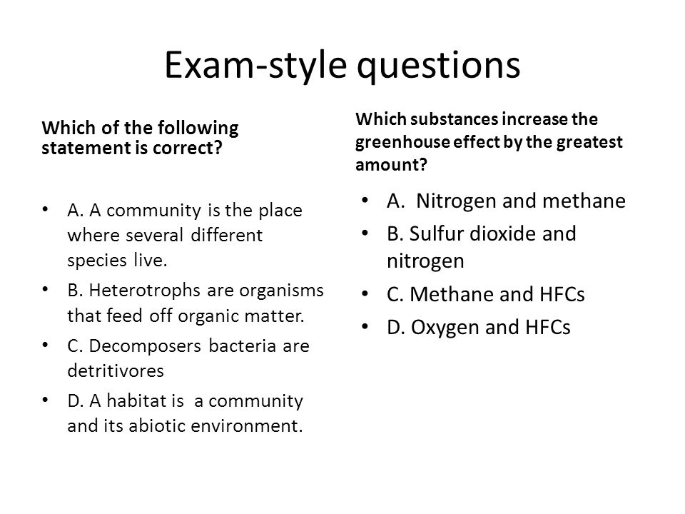 Exam-style questions A. Nitrogen and methane