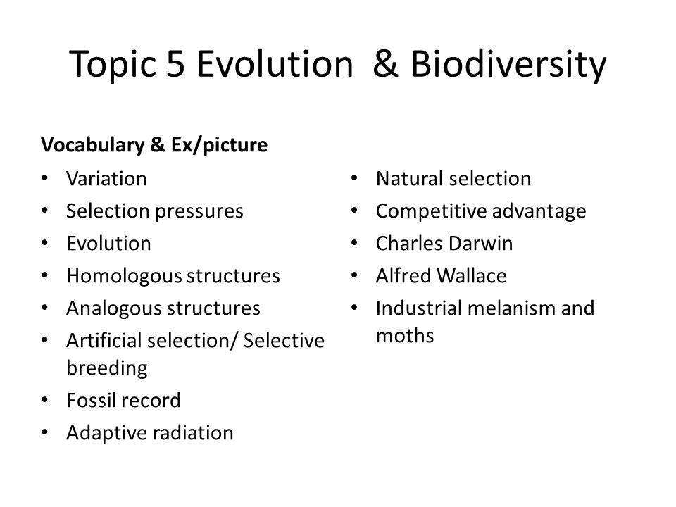 Topic 5 Evolution & Biodiversity