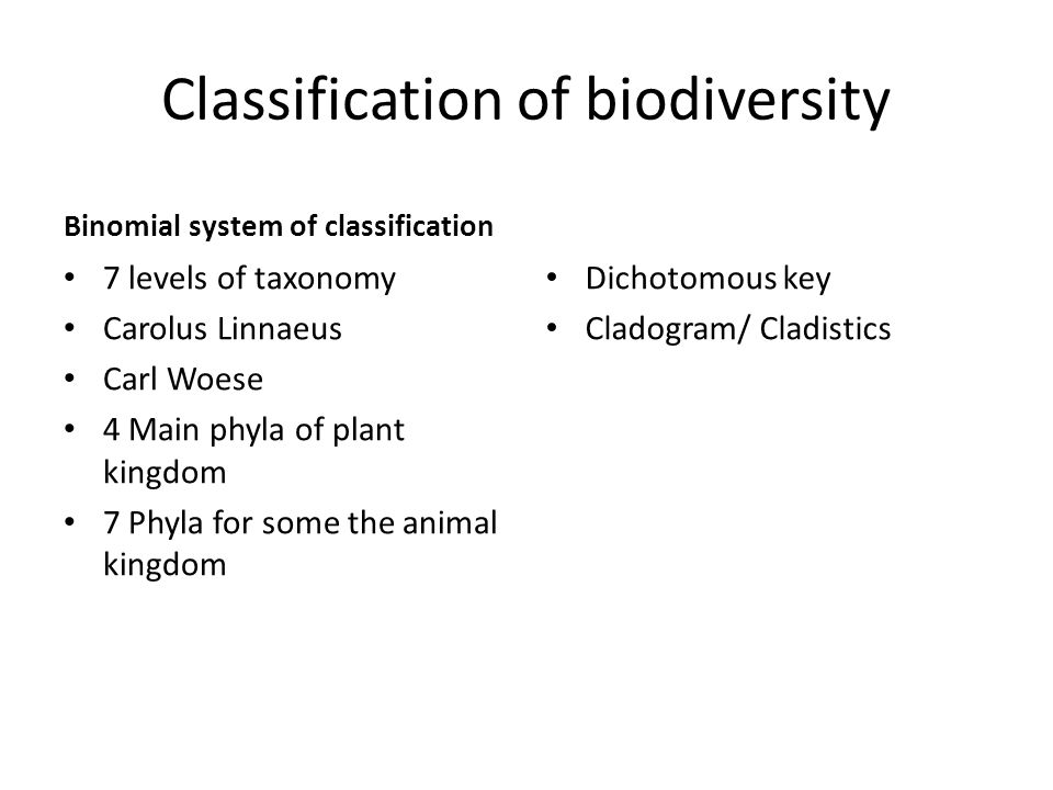 Classification of biodiversity