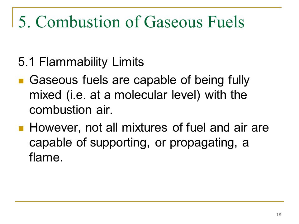 5. Combustion of Gaseous Fuels