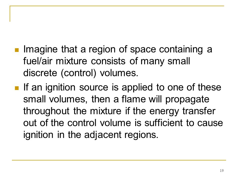 Imagine that a region of space containing a fuel/air mixture consists of many small discrete (control) volumes.