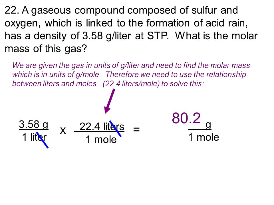 80.2 x = 22. A gaseous compound composed of sulfur and