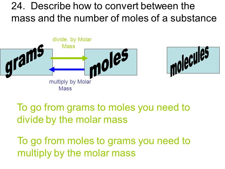 molecules grams moles 24. Describe how to convert between the