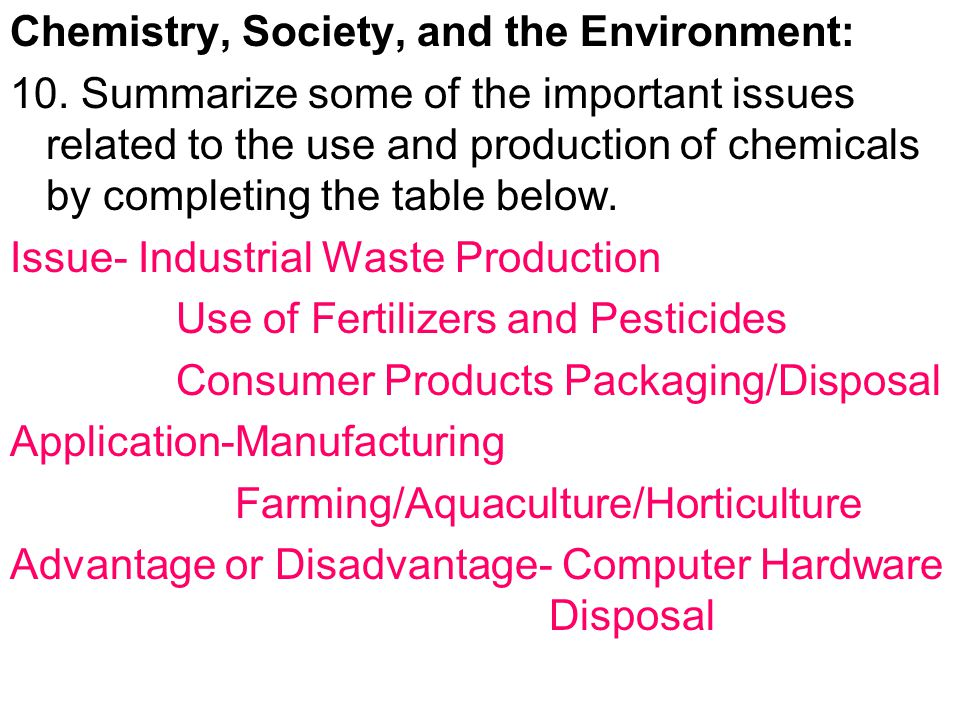 Chemistry, Society, and the Environment: