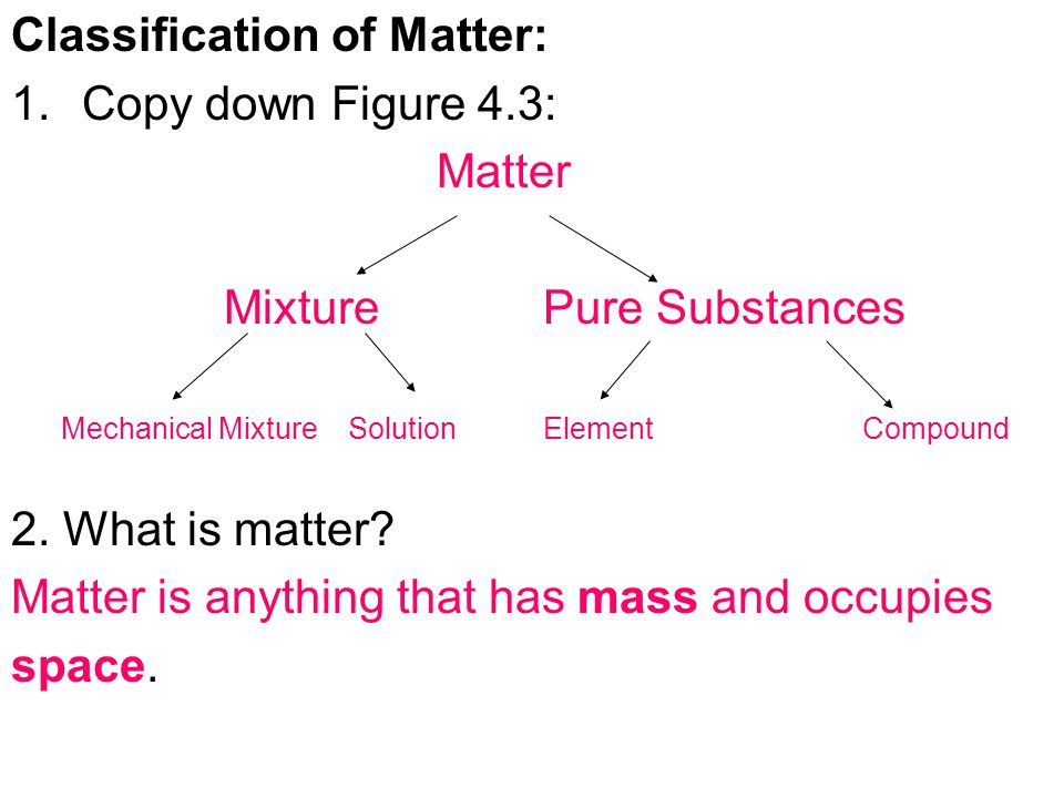 Classification of Matter: Copy down Figure 4.3: Matter