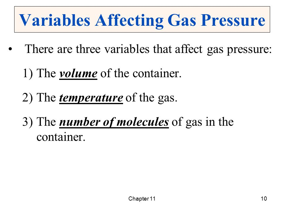 Variables Affecting Gas Pressure
