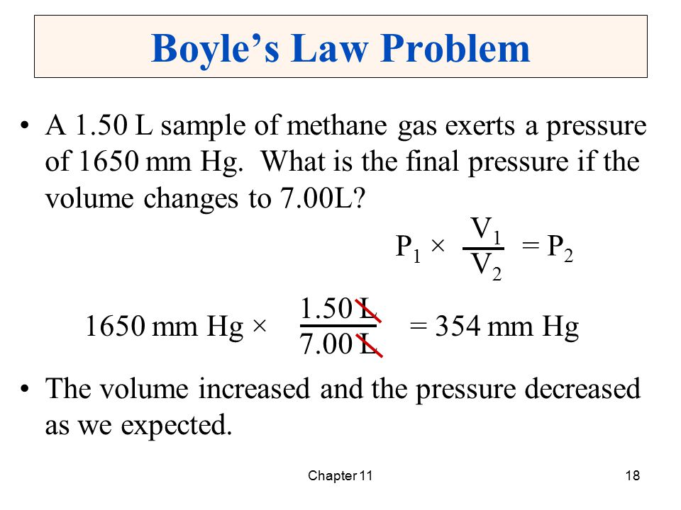Boyle's Law Problem A 1.50 L sample of methane gas exerts a pressure of 1650 mm Hg. What is the final pressure if the volume changes to 7.00L