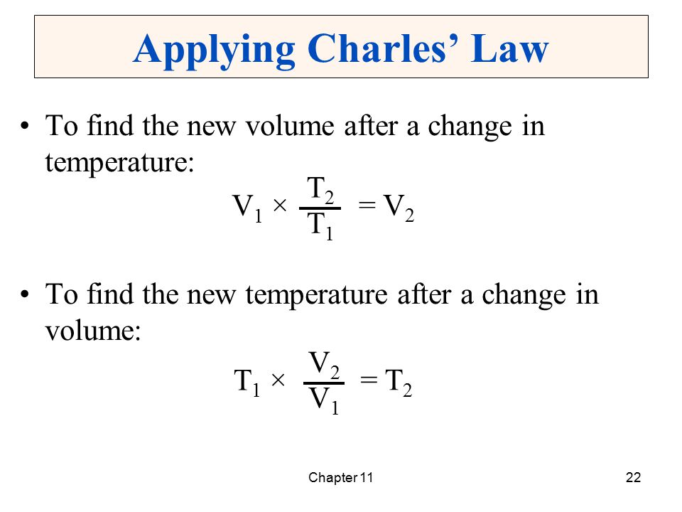 Applying Charles' Law To find the new volume after a change in temperature: To find the new temperature after a change in volume: