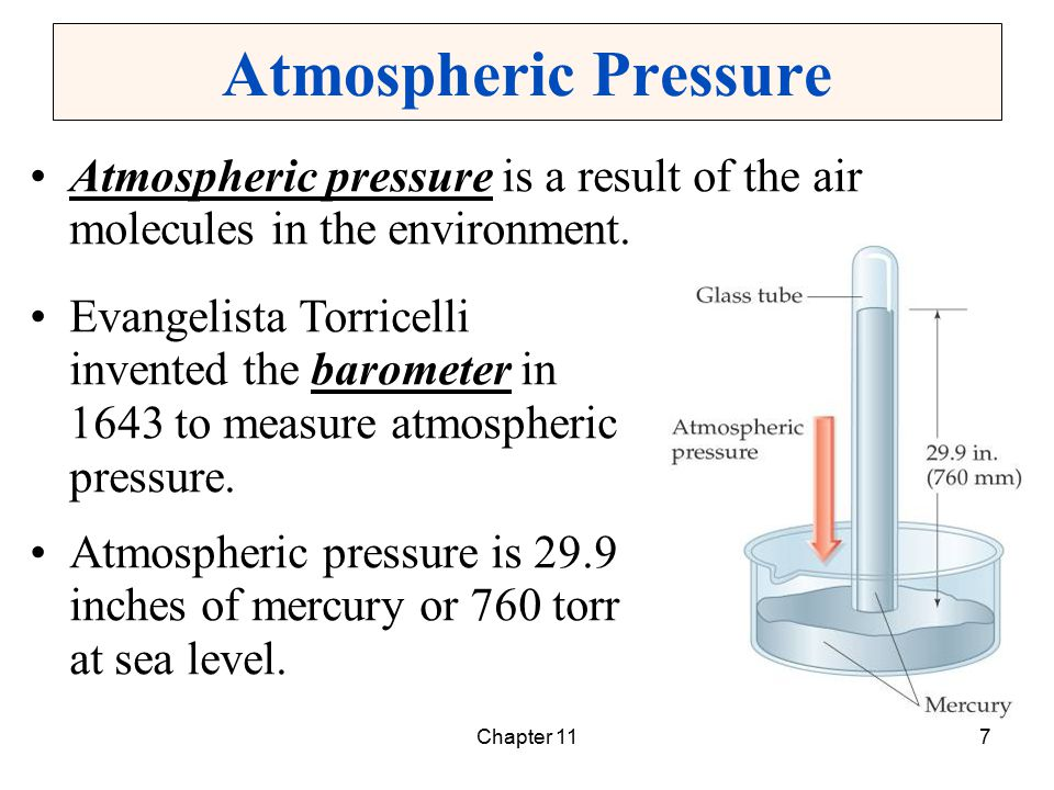 Atmospheric Pressure Atmospheric pressure is a result of the air molecules in the environment.