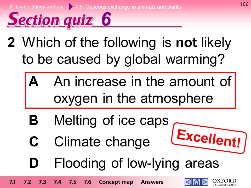 6 2 Which of the following is not likely to be caused by global warming A An increase in the amount of oxygen in the atmosphere.
