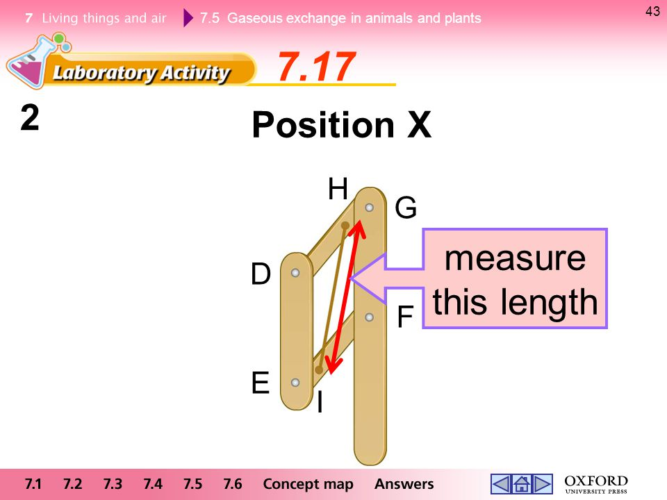 43 7.17 2 Position X H G measure this length D F E I