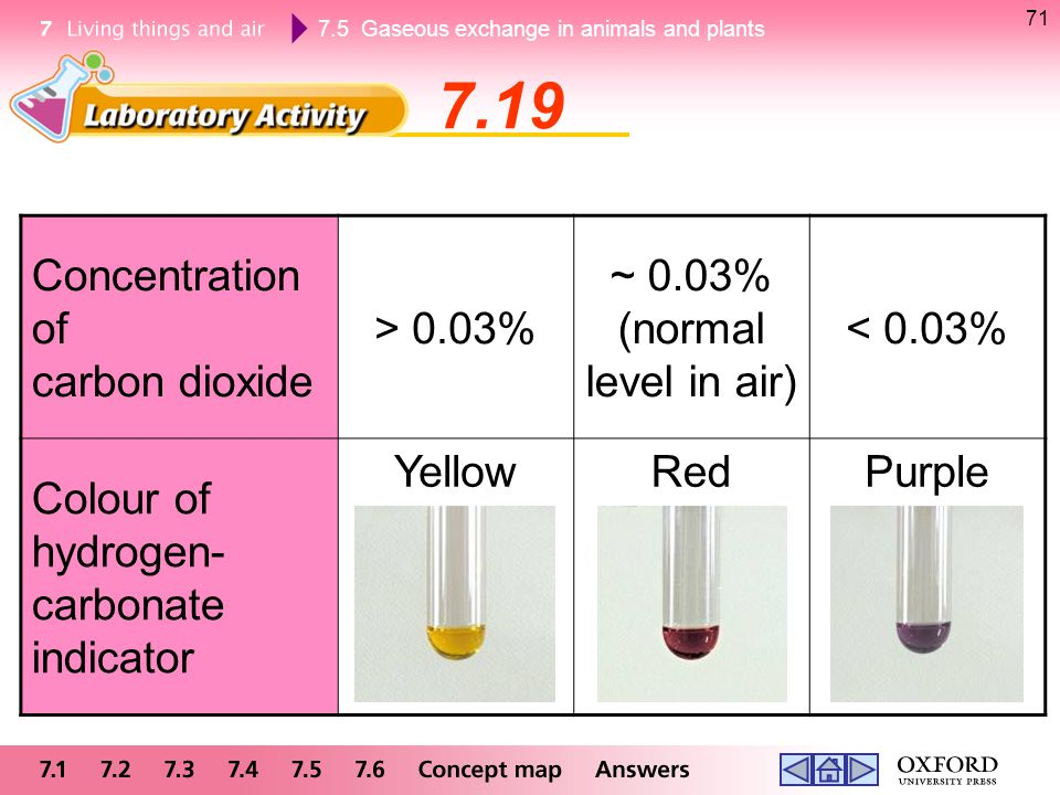 7.19 Concentration of carbon dioxide > 0.03% ~ 0.03%