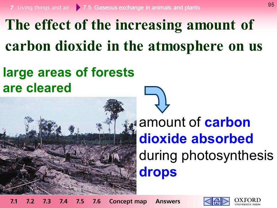 The effect of the increasing amount of carbon dioxide in the atmosphere on us