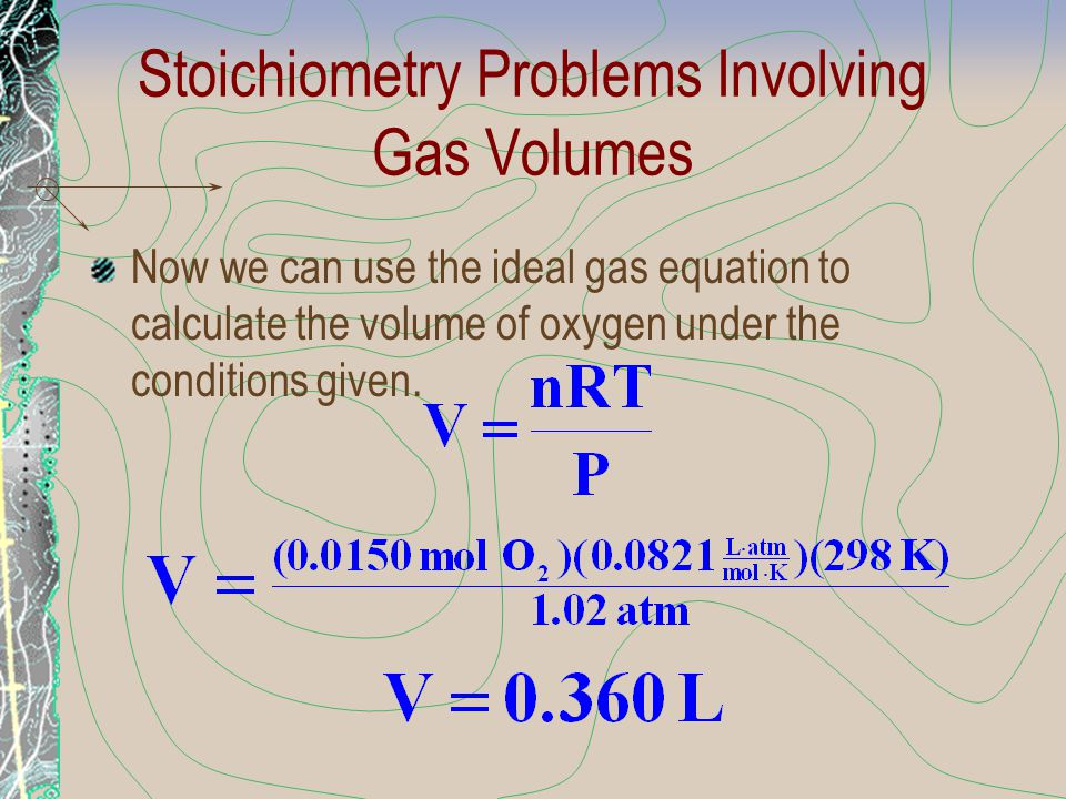Stoichiometry Problems Involving Gas Volumes