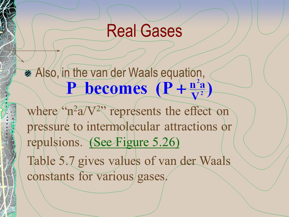 Real Gases Also, in the van der Waals equation,
