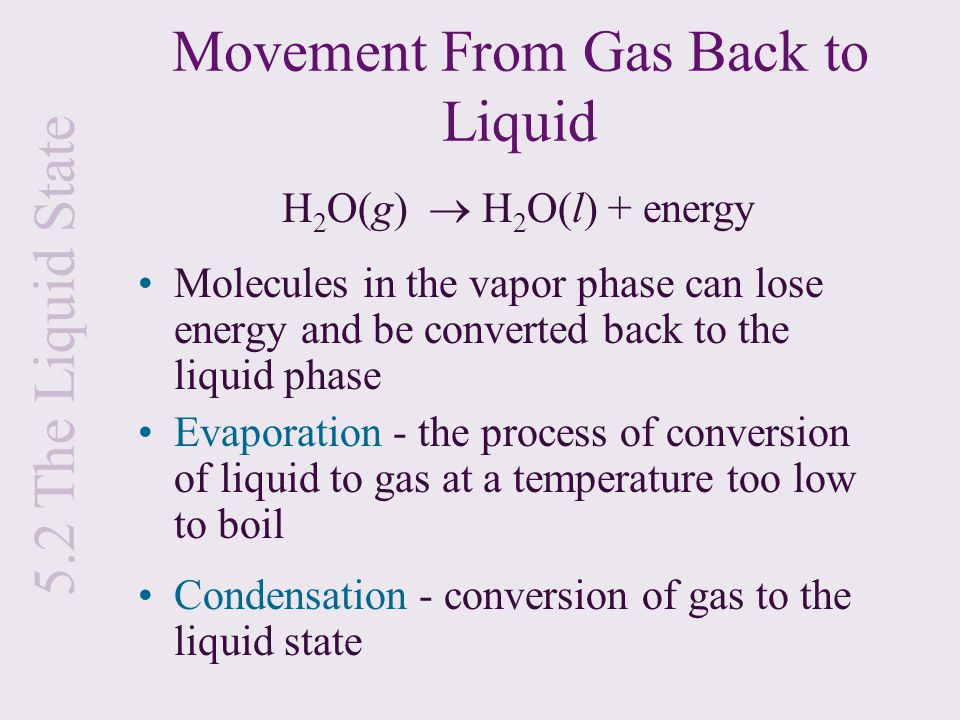 Movement From Gas Back to Liquid