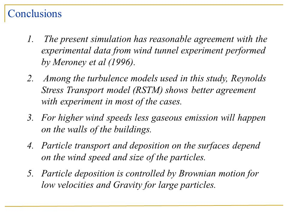 Conclusions The present simulation has reasonable agreement with the experimental data from wind tunnel experiment performed by Meroney et al (1996).