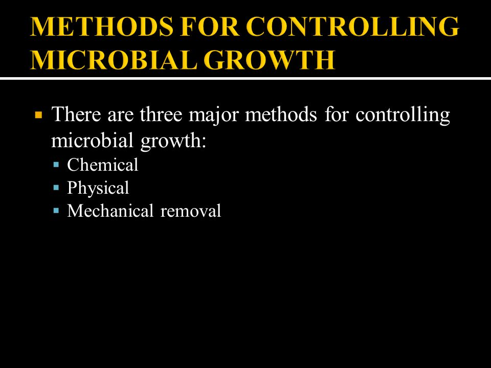 METHODS FOR CONTROLLING MICROBIAL GROWTH