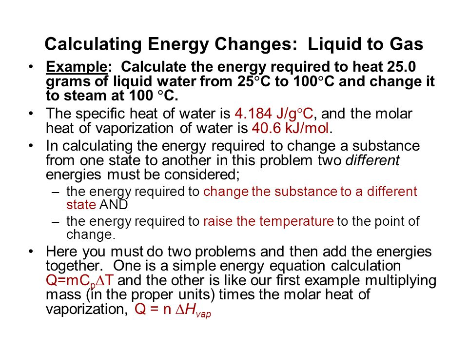 Calculating Energy Changes: Liquid to Gas